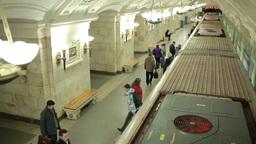 Train arriving at the Oktyabrskaya metro station Stock Video Footage