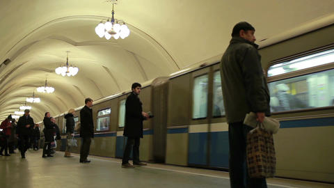 Train arriving at the Taganskaya metro station Footage