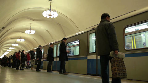 Train arriving at the Taganskaya metro station Stock Video Footage