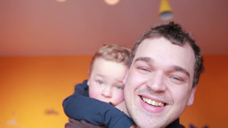Close up portraits of happy father and his son Stock Video Footage