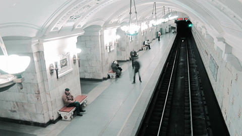 Trains arriving and runaway at the Oktyabrskaya metro... Stock Video Footage
