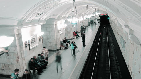 Trains arriving and runaway at the Oktyabrskaya metro station Footage