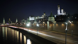Quay near the Moscow Kremlin. Night time lapse with... Stock Video Footage