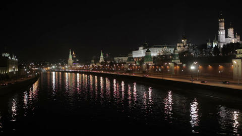 Quay near the Moscow Kremlin at night. Real time shot. Time lapse is also available Footage