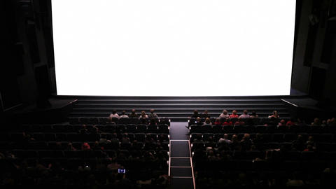 Empty screen in cinema. Wide shot. Ready to add your video Stock Video Footage
