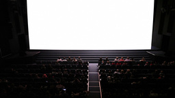 Empty screen in cinema. Wide shot. Ready to add your video Footage