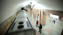 Train runaways at the Marksistskaya metro station Stock Video Footage