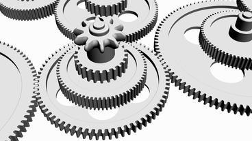 Rotation of 3D gear.mechanism,wheel,machine,engine,machinery,metal,technology Animation