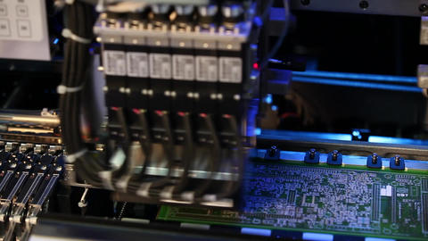 Inside view of an elcetronics device bulding circuit boards Stock Video Footage