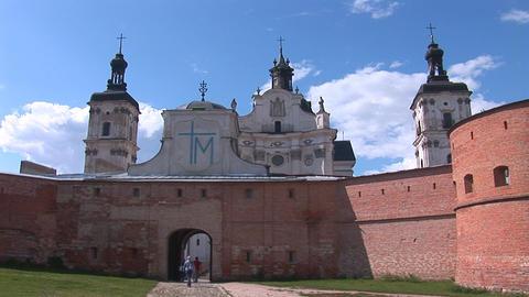 Fortified Carmelite monastery c Stock Video Footage