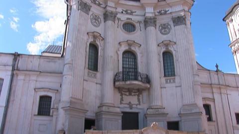 Fortified Carmelite monastery g Stock Video Footage