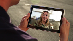 Video Chatting on iPad Stock Video Footage