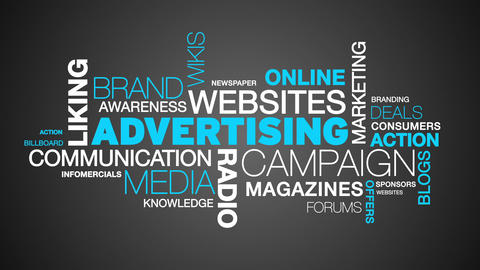 Advertising Word Cloud Animation Stock Video Footage