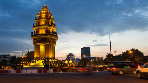 1080 - TIMELAPSE ON INDEPENDENCE MONUMENT - CAMBODIA stock footage