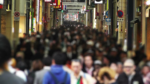 Anonym Crowd in Osaka Slowmotion 1 Footage