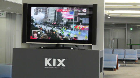 Boston Marathon Massacre News on TV in Kanasai Air Stock Video Footage