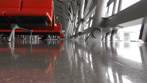 Empty Airport Waiting Hall 2 shots Stock Video Footage