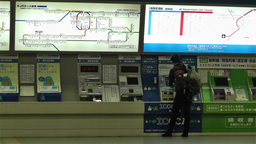 Kansai Airport Railway Station Osaka Japan 7 ticket machines Stock Video Footage
