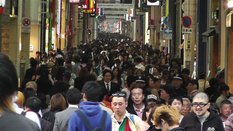 Namba District Osaka Japan 43 crowd slow motion Footage