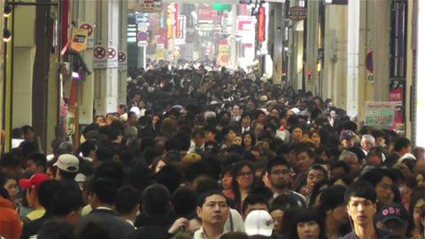 Namba District Osaka Japan 45 crowd Stock Video Footage