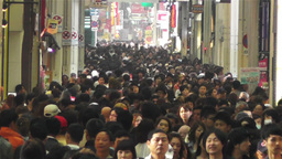 Namba District Osaka Japan 45 crowd Footage