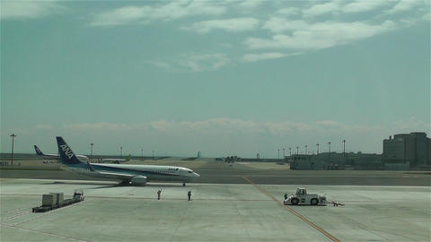 Tokyo Haneda Airport 11 ana flight Stock Video Footage