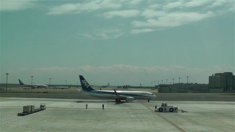Tokyo Haneda Airport 11 ana flight Stock Video Footage
