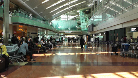 Tokyo Haneda Airport Departure Level 1 Stock Video Footage