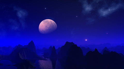 Night on a blue planet Stock Video Footage