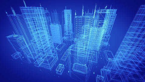 Architectural blueprint of contemporary buildings, blue tint Stock Video Footage