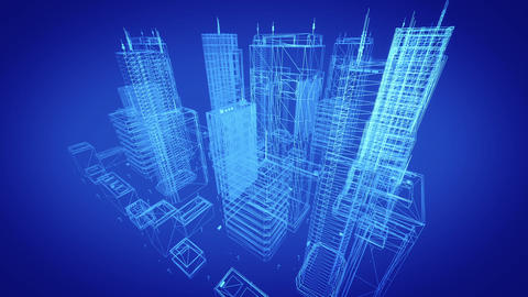 Architectural blueprint of contemporary buildings, blue tint Animation