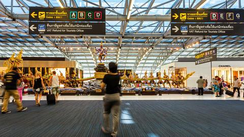 4k - Bangkok Suvarnabhumi Airport - Timelapse stock footage