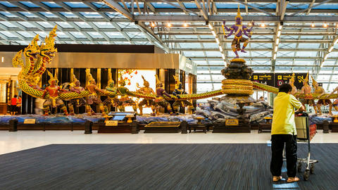 Bangkok Suvarnabhumi Airport - Timelapse Stock Video Footage
