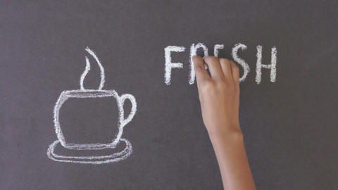 Fresh Coffee Chalk Drawing stock footage
