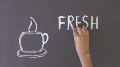 Fresh Coffee Chalk Drawing Stock Video Footage