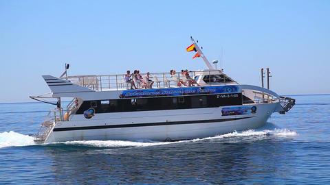 Fast motorboat on Mediterranean Sea, Costa Brava, Spain Stock Video Footage