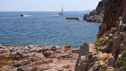 Yacht and motorboat on Mediterranean Sea, Spain Stock Video Footage
