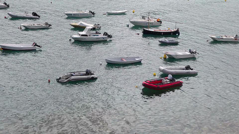 Small boats, motorboats and pontoons in port Stock Video Footage