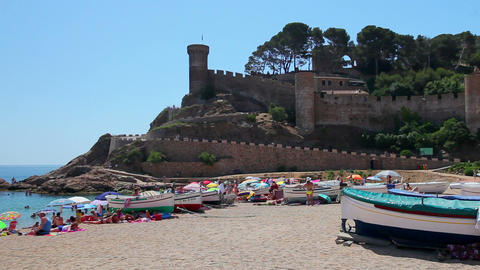 Beach in Tossa de Mar, Costa Brava, Catalonia, Spain Stock Video Footage