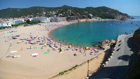 Beach in Tossa de Mar, Costa Brava, Catalonia, Spain Footage