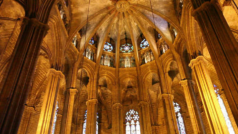Cathedral in Barcelona, Catalonia, Spain Footage