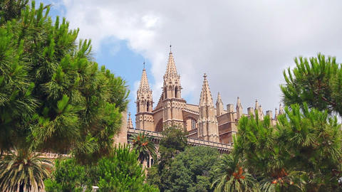 Cathedral La Seu in Palma de Mallorca, Mallorca Island, Spain Footage