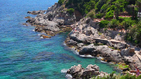 Lloret de Mar, crystal clear water, Costa Brava in Catalonia, Spain Footage