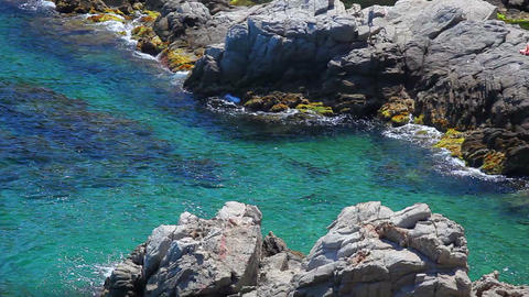 Lloret de Mar, crystal clear water, Costa Brava in... Stock Video Footage