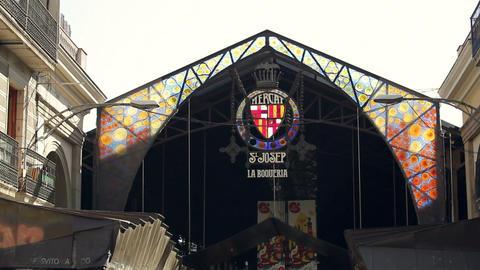 La Boqueria, large public market in Barcelona, Catalonia,... Stock Video Footage