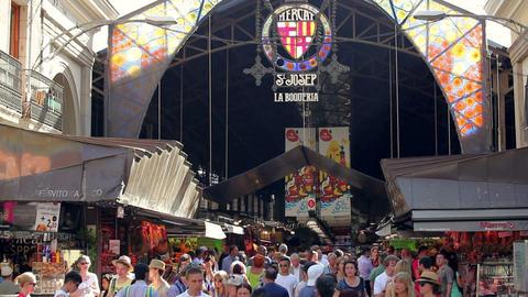 La Boqueria, large public market in Barcelona, Catalonia, Spain Footage