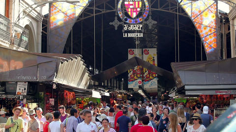 La Boqueria, large public market in Barcelona, Catalonia,... Stock Video Footage