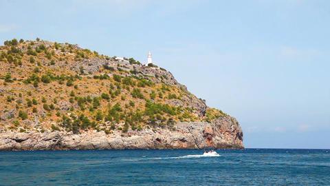 Lighthouse on hill, Mallorca Island, Spain Stock Video Footage