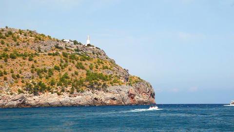 Lighthouse on hill, Mallorca Island, Spain Footage