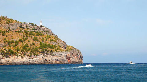 Lighthouse on hill, Mallorca Island, Spain Stock Video Footage
